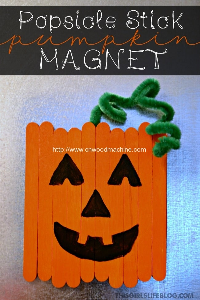 Popsicle Stick Pumpkin Magnet